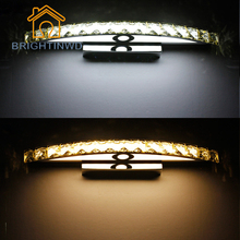 2017 Crystal Modern Lamp LED Mirror Wall Lamp Light 10W 15W 44cm 54cm Bathroom Fixture SMD2835 Brightness Energy Saving Lampen