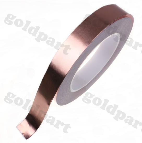 2x 15mm*30M*0.06mm Single Sided Conduct Adhesive Copper Foil Tape Sticky for Electromagnetic Wave Interference EMI Shield Mask 2 roll 6mm 30m 0 06mm adhesive single electric conduct copper foil tape for electromagnetic wave radiation emi shield mask