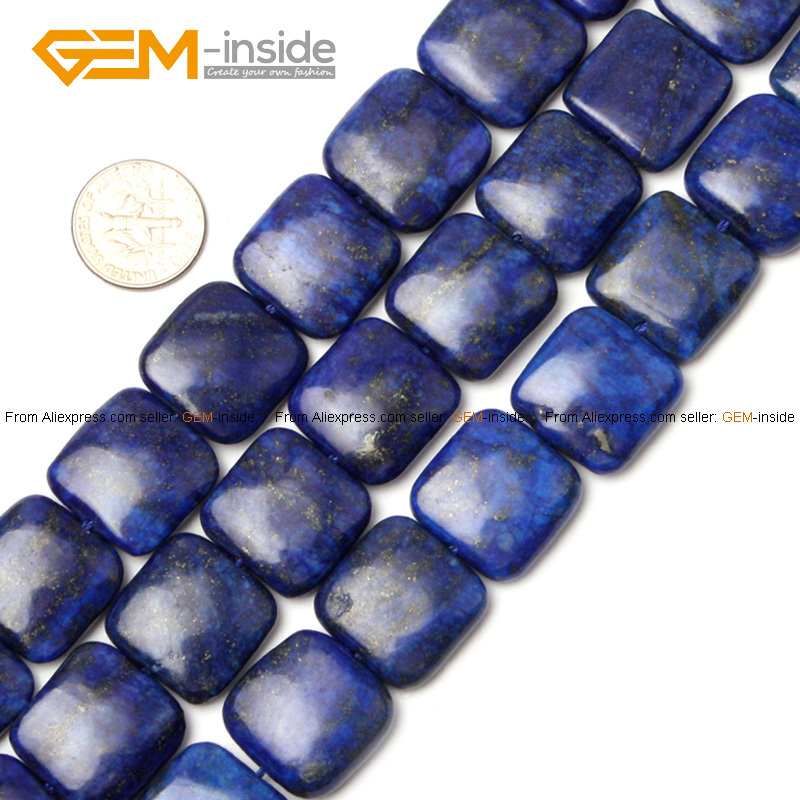 Gem-inside 12-20mm Dyed Color Square Stone Beads Blue Lapis Lazuli Beads For Jewelry Making Beads Necklace 15inch DIY Beads цена