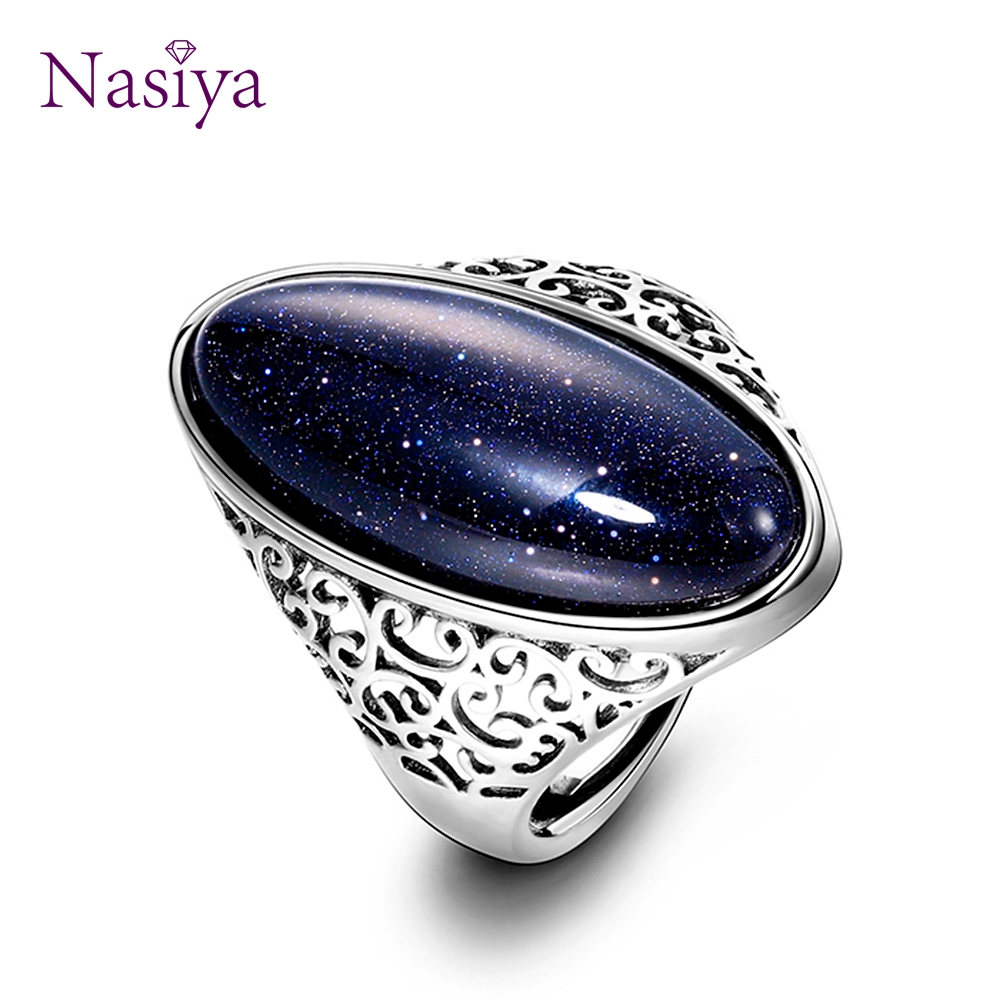 925-Sterling-Silver Jewelry Ring Sand Party Wedding Vintage Hollow Women's Blue Gift