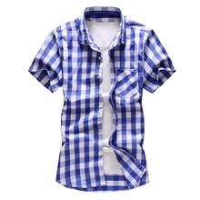 Summer 2019 fashion shirt mens business casual plaid short sleeve