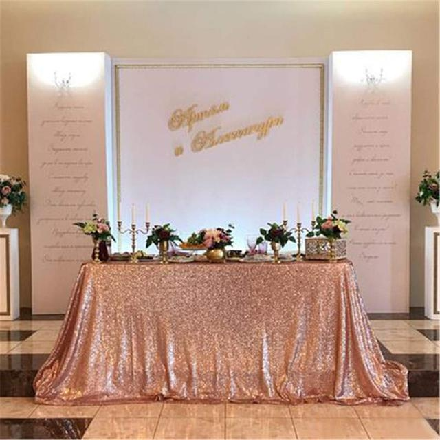 Sequin Tablecloth Wedding Cake Rectangle Square Sequins Table Linen Rose Gold 90x132