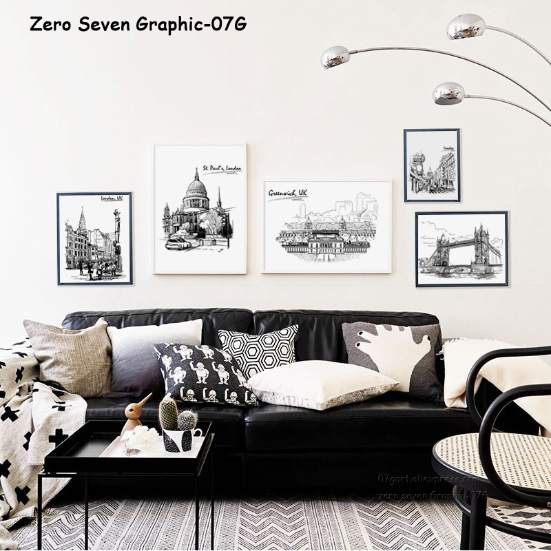 Black And White Artwork For Bedroom: Black And White Lines Building Canvas Painting Posters And