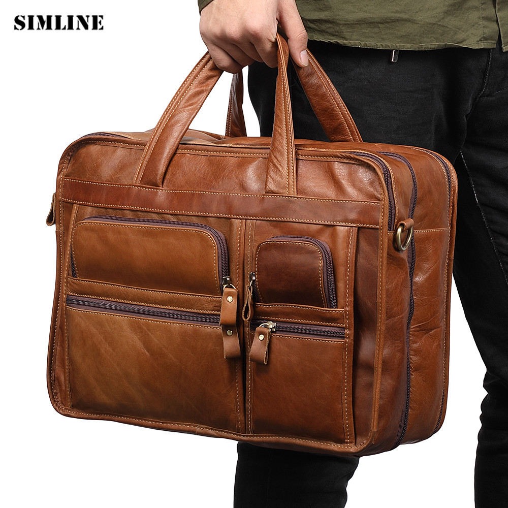 SIMLINE Genuine Leather Men Handbag Briefcase Natural Real Cowhide Men's Vintage Business Handbags Shoulder Laptap Bags For Male