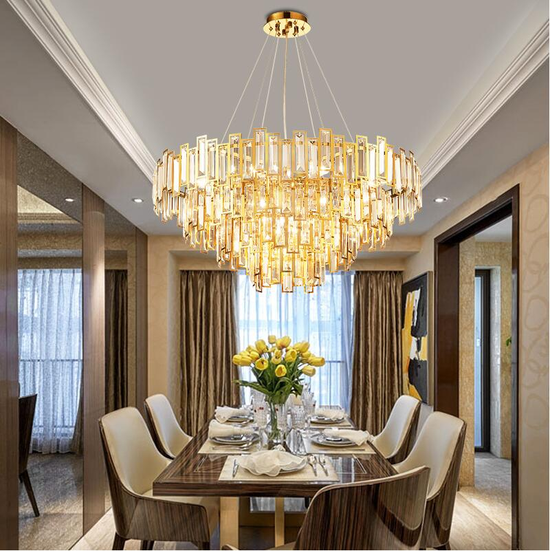 Modern Crystal Chandeliers Stainless Steel Living Room Dining Room Lights  Gold Luxury Bedroom Lights Round Light Luxury LED Lamp