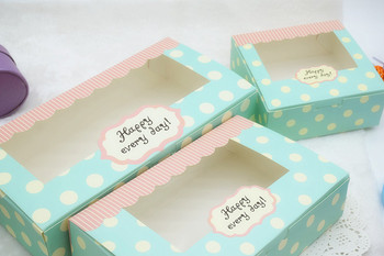 200pcs Retro Blue Dot Cake Box Macaron Mooncake Candy Chocolate Packing Box with Clear Window For Party Favor wen5718