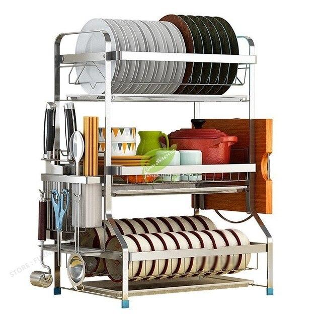 Organizador Acessórios de cozinha Prateleira de Armazenamento De Rack Prateleira de Parede Ganchos para Panelas e Frigideiras Aumentando Cesta Secador de Prato Da Cozinha