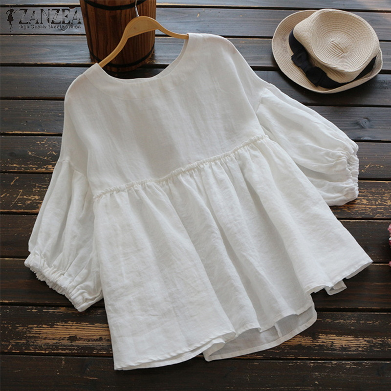 2019 Summer ZANZEA Women O Neck Lantern Sleeve Cotton Linen Shirts Casual Solid Loose Work Blouse Party Ruffle Top Plus Size