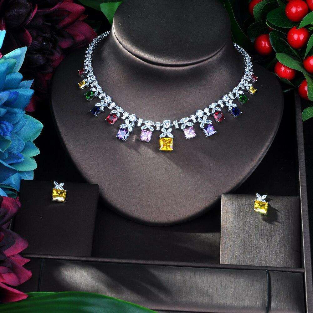 HIBRIDE musujące wielokolorowa cyrkonia sześcienna zestawy biżuterii dla kolczyki damskie naszyjnik zestaw suknia ślubna akcesoria Party GiftN 54 w Zestawy biżuterii od Biżuteria i akcesoria na  Grupa 2
