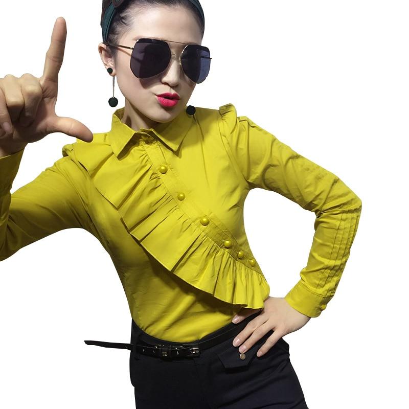 2017 Noir blanc Ruches Dame Chemises Formelle bleu Wear rose Blouses 8 Couleur Longues jaune Green Manches pourpre Work Tops Femmes Bureau vert Coton army Printemps bourgogne rouge rwOaSqxr