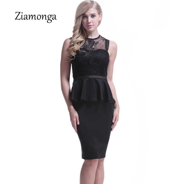 Ziamonga Embroidery Floral Lace Black Dress Summer Vintage
