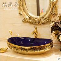 Цзиндэчжэнь Тайвань умывальник керамическая для ванной Искусство бассейна умывальник Синий Золотой цветок flash