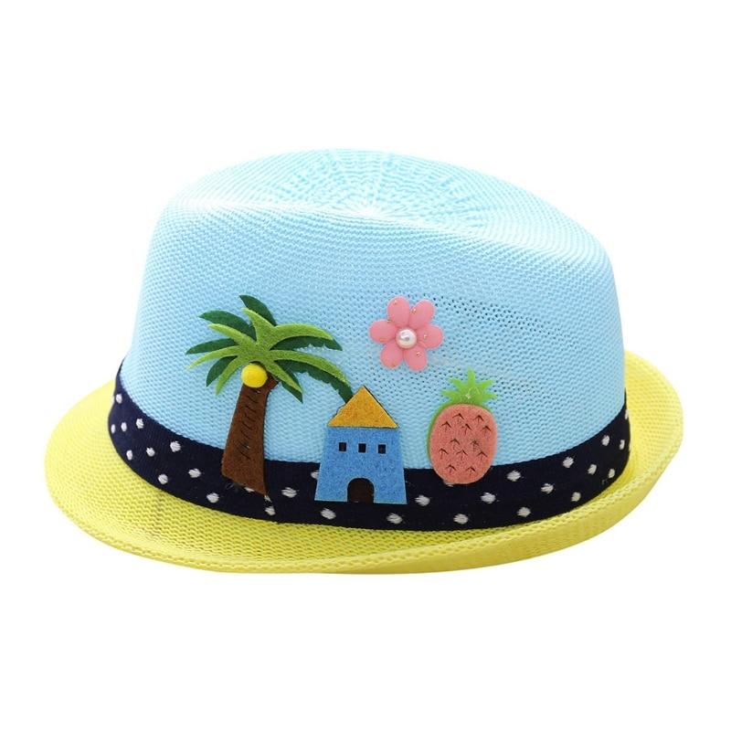 2018 Summer Kids Flanging Tree Flower Straw Hat Beach Sun Visor Jazz Cap Breathable