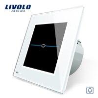 Livolo EU Standard Door Bell Switch White Crystal Glass Switch Panel 220 250V Touch Screen Door
