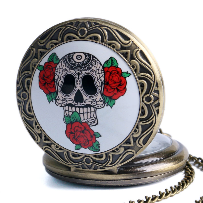 Bronze Skull With Roses Quartz Pocket Watch With Necklace Chain For Men Women Xmas New Year Gifts