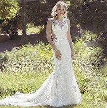 Custom Made Mermaid Wedding Dress Sheer Scoop Neck Illusion Back Full lace Formal Plus Size Bridal Gown 2019 Robe De Soiree plus scoop neck tropic print dress