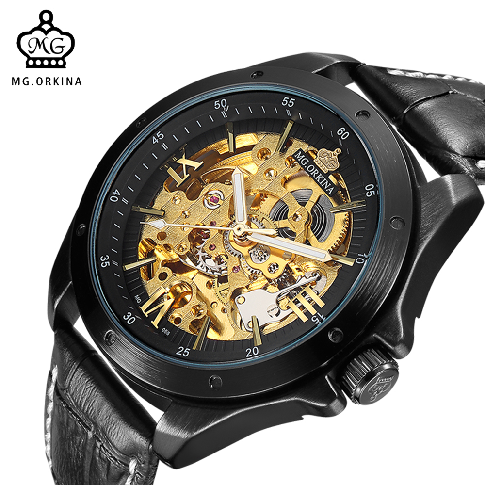 ORKINA Gold Black Skeleton Mechanical Watch Men Automatic Self Wind Montre Automatique Homme Male Clock Wrist Watches fngeen automatic watches waterproof leather rose gold mechanical watch men male clock luminous montre automatique homme relogio