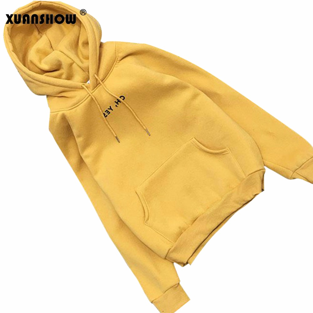 XUANSHOW Spring Autumn Women Hoodies Hoodies Fleece Oh Yes Letter Harajuku Printed Pullover Loose Female Loose Casual Coat