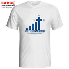 Get Connected To Jesus Cotton T Shirt Geek Nerd Active Novelty Funny T-shirt Cracking Punk Brand Unisex White Top Tee