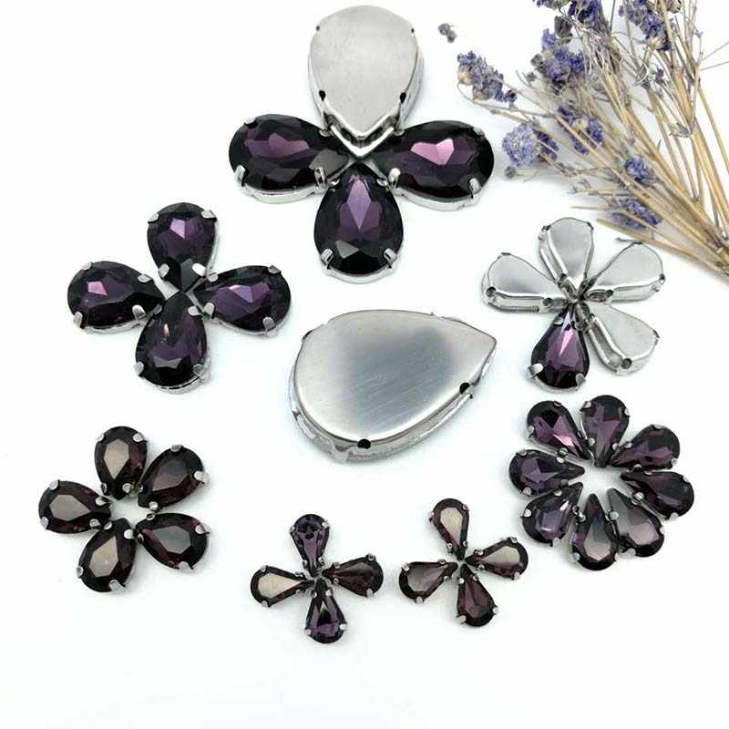 495794ba23 35pcs8Sizes MIX Deep Purple DR shape Crystal Glass Sew-on Rhinestones  Silver Bottom DIY Mobile phone shell and Wedding dress