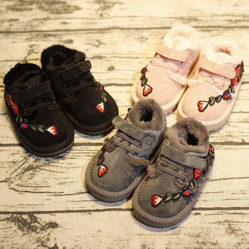 Детские кожаные китайский Стиль Вышивка и кашемир, хлопок Обувь Детские Зимние теплые хлопковые малыша Роза логотип Сапоги и ботинки для де...