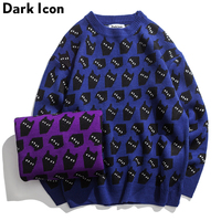 DARK ICON Catseye Round Neck Pullover Men's Sweater 2018 Winter Sweater Men High Quality Knitted Sweaters for Men Blue Purple