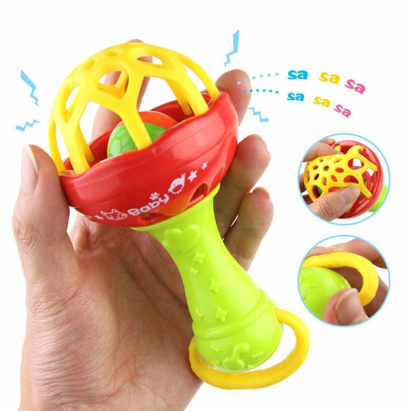 Newborn Baby Rattles Toy Infant Stroller Crib Hanging Rattles Plastic Kids Hand Bell Rattle Baby Intelligence Grasping Gums Bell