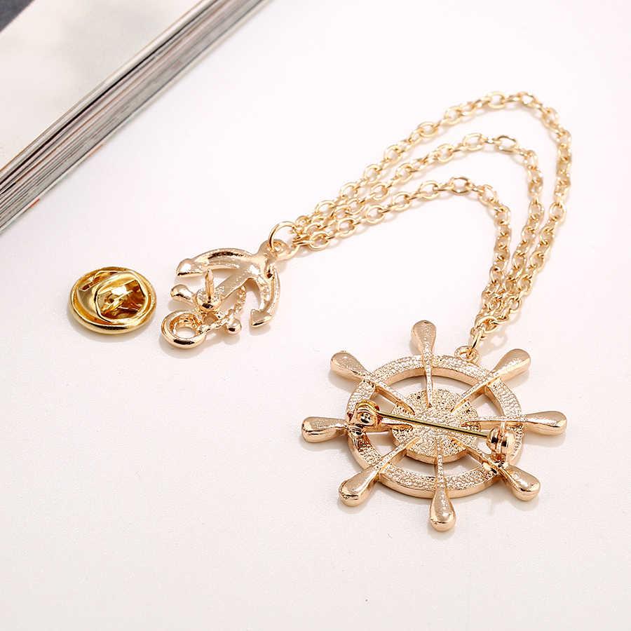 Sheegior Cinta Emas Kemudi Jangkar Bros untuk Wanita Pria 3-Lapisan Jaringan Kerah Bros Kerah Pin OL Fashion perhiasan Aksesoris