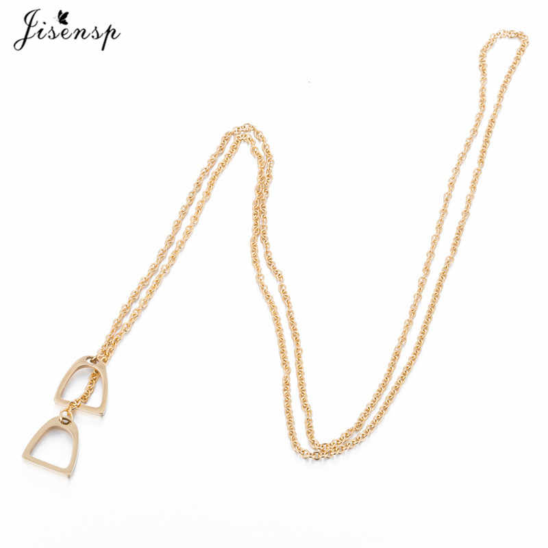 Jisensp Fashion Gold Color Horseshoe Necklaces Pendants for Women Jewelry Birthday Lovely Horse Hoof Necklace Chain Gift