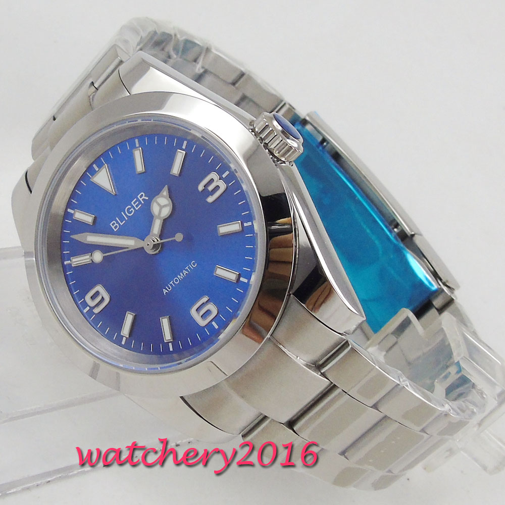 40mm Bliger Blue Dial Romantic gifts Steel Case luminous hands Automatic movement mens watch