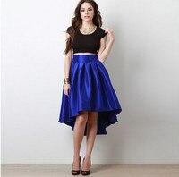 Simple Elegant Two Pieces Prom Dress 2016 Black Sleeveless Royal Blue High Low Vestidos Cortos De