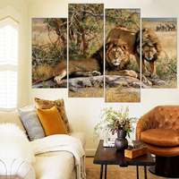 Two Lion Painting HD Printed Animals Canvas Print Room Decor Print Poster Picture Wall Painting Free