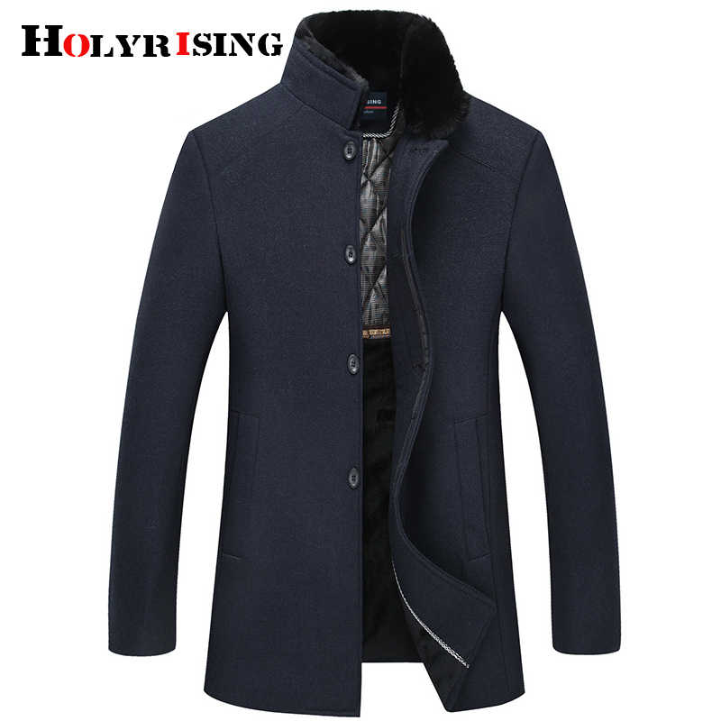 Men Thick Wool Coat Jacket Faux Fur Collar Men Cashmere Jackets and Coats Fashion Single Breasted Man chaquetas hombre 18623-5