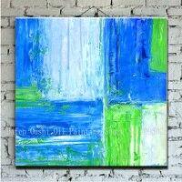 100%ハンドpaitned送料無料抽象大青緑白カラーピースオイルキャンバス絵画キャンバスに1ピース/セット写