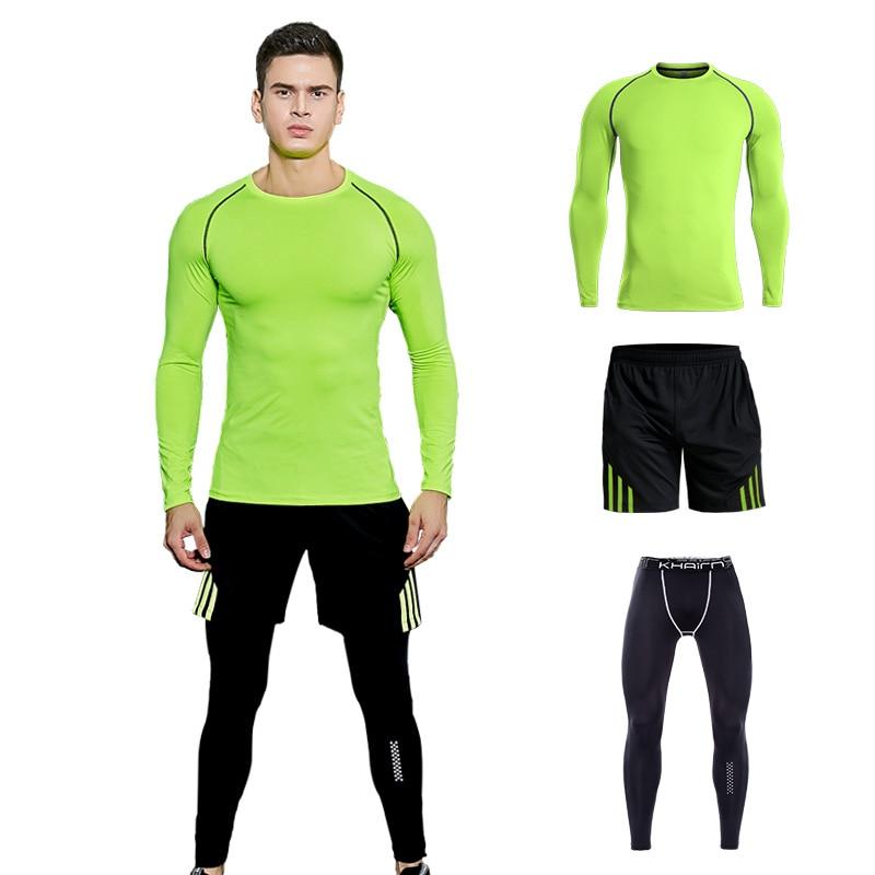 24352beebd2 Tactical T-shirt Fitness Clothing Men s Compression T-shirt fast-drying  Crossfit Shirts Men s leggings Rash guard S-3XL 3 Piece