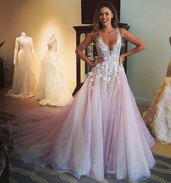 Mzywh54 New Lace Wedding Dress Deep V Neck Bridal Gown Ball Prom