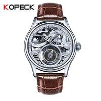 Dragon Tourbillon Mechanical Movement Men's High end Private Custom Mechanical Leather Watches Original Hollow Relojes Hombre