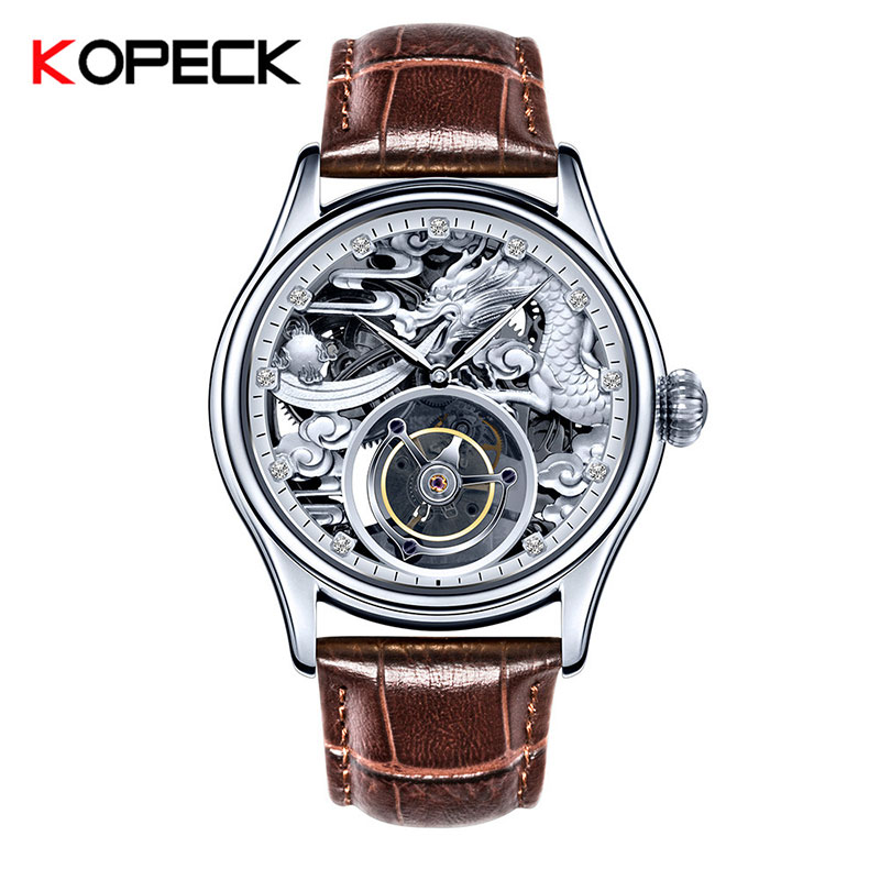Dragon Tourbillon Mechanical Movement Men's High-end Private Custom Mechanical Leather Watches Original Hollow Relojes Hombre
