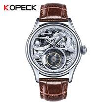 Dragon Tourbillon mechaniczny ruch męski wysokiej klasy prywatne niestandardowe mechaniczne skórzane zegarki oryginalny Hollow Relojes Hombre