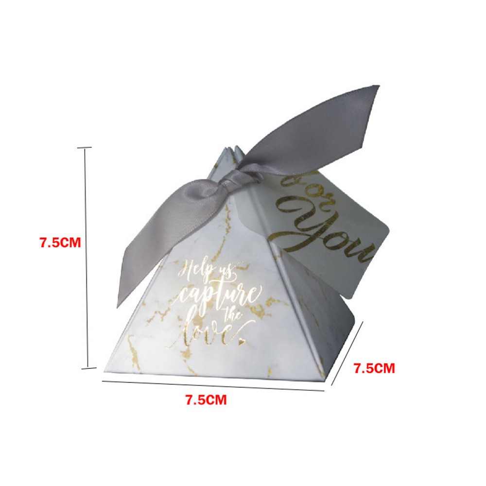 Купить с кэшбэком YOURANWISH 50pcs/Lot Creative Marbling style Candy Boxes Pyramid Wedding Favors Party Supplies Baby Shower thanks Gift Box