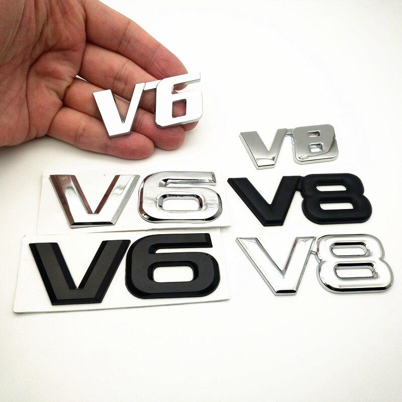 FDIK Car Chrome Metal sale V6 V8 logo 3D metal Sticker Emblem Badge rear trunk Displacement Decoration styling
