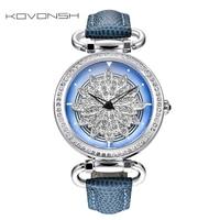 KOVONSH 360 Degree Rotation Dial Luxury Leather Women Watches Diamond Lady Watch Fashion Dress Quartz Wrist Watches Dropshipping