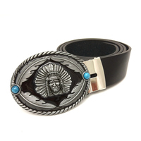 Vintage Western Cowboy Black PU Leather Belts For Men Native American Indian Chief Feather Turquoise Decorative