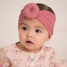 Nishine 10pcs/lot Cotton Blend Nylon Children Kids Headbands Newborn Turban Round Knot Head Wrap Hair Accessories Birthday Gift