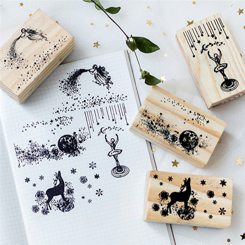 Lovely Row Series Boxes Wood Stamp Scrapbook DIY Photo Album Card Decoration Craft Wooden Rubber Stamp Toy
