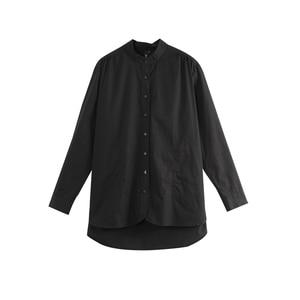 Image 5 - Toyouth moda kadın bluzlar 2019 sonbahar uzun kollu erkek arkadaşı tarzı rahat standı yaka düz renk Streetwear bluz gömlek