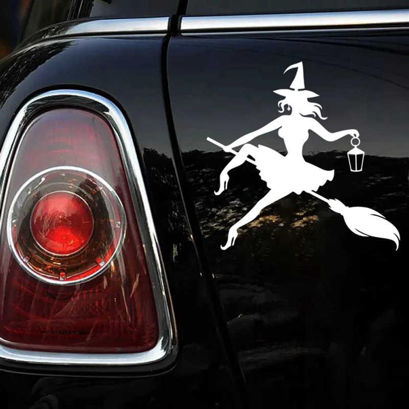 CK2116 #15*15cm Strega su un manico di scopa divertente dell'autoadesivo dell'automobile del vinile della decalcomania argento/nero auto auto adesivi per paraurti auto finestra