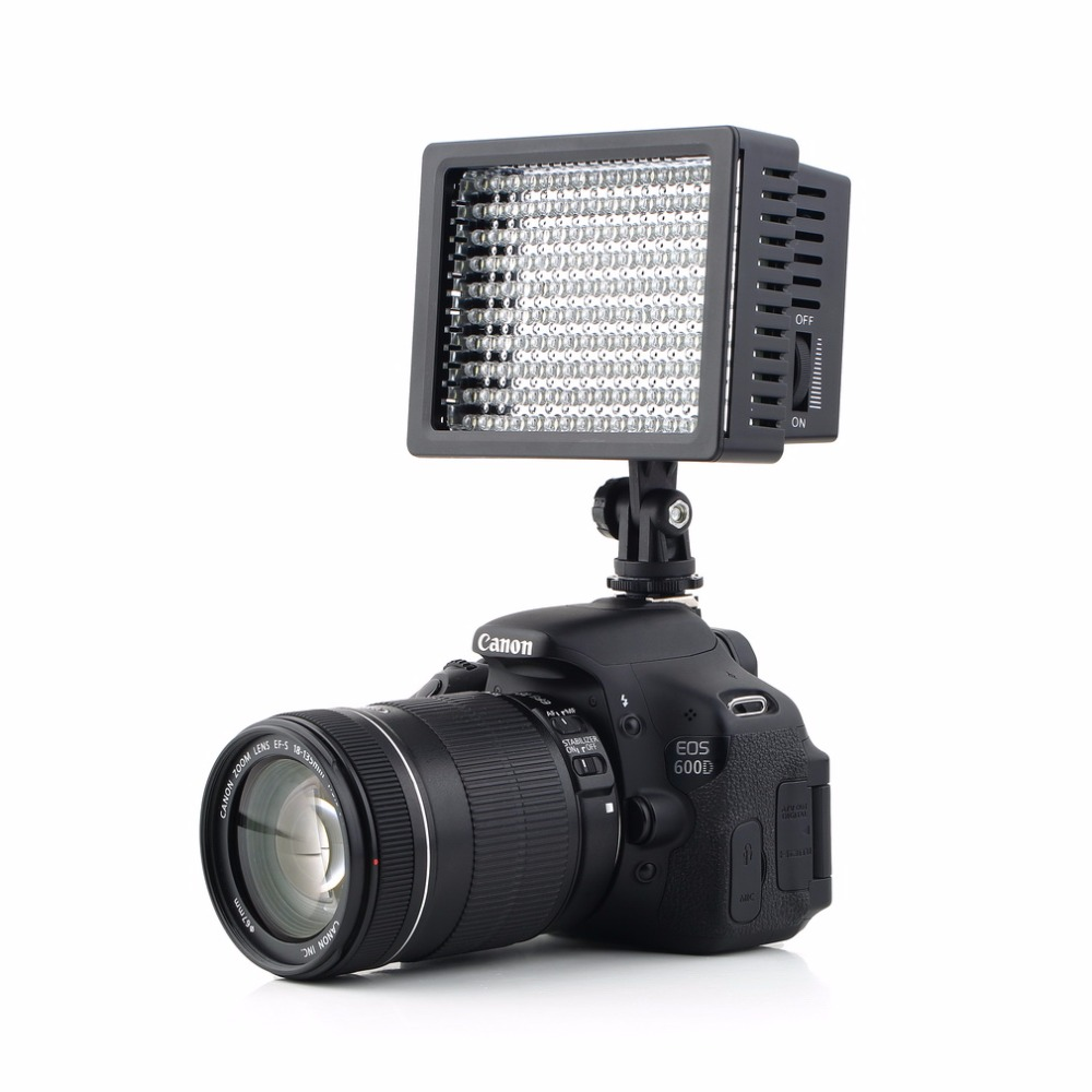 160 LED Video Camera HD Light Lamp 12W 1280LM Dimmable for Canon for Nikon for Pentax Camera Video Camcorder 2017 Top Sale wansen w160led 12w 1280lm 5600k 3200k 160 led camera video light for canon nikon sony