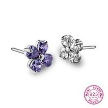 925 Sterling Silver Purple Amethyst Stud Earrings Women  For Gift Hot Sale 2018 New Trendy Party Fine cubic zirconia turquoise