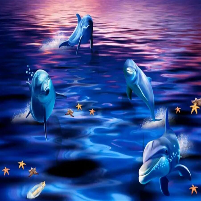 Beautiful sea world dolphins play in 3D TV background wallBeautiful sea world dolphins play in 3D TV background wall